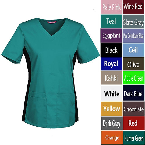 Women's Nursing Uniform Blouse Short Sleeve V-Neck Working Top With Pockets