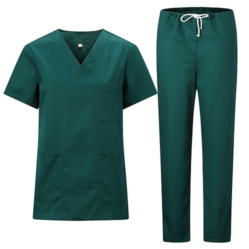 V-Neck Short Sleeves Tops With Elastic Waisted Long Scrub Pants Scrubs