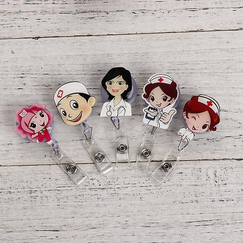 Retractable Badge Reel Nurse Lanyards ID Name Card Badge Holder Clip
