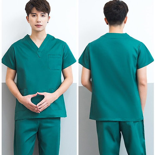 Nursing Scrubs Uniform Men Beauty Salon Work Costume Suit V-Neck Short Sleeves