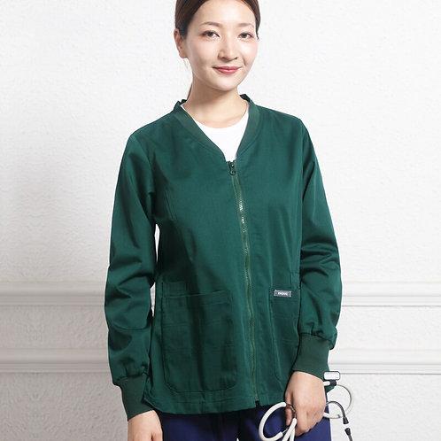 Medical Scrub Jacket Out Coat Knitted Cuffs Zipper Open Nurse Work Jackets