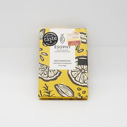 Milchschokolade mit Zitrone,Bergamont,Orange 50g Handarbeit