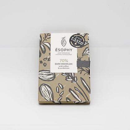 70% dunkle Schokolade mit Kaffee und Kardamon 50g