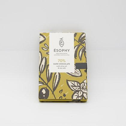 70% Dunkle Schokolade mit Olivenöl und Meersalz 50g/Handarbeit