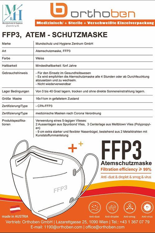 10 Stk Atemschutzmaske FFP3 CE Zertifiziert Höchste Schutzklasse ohne Ventil