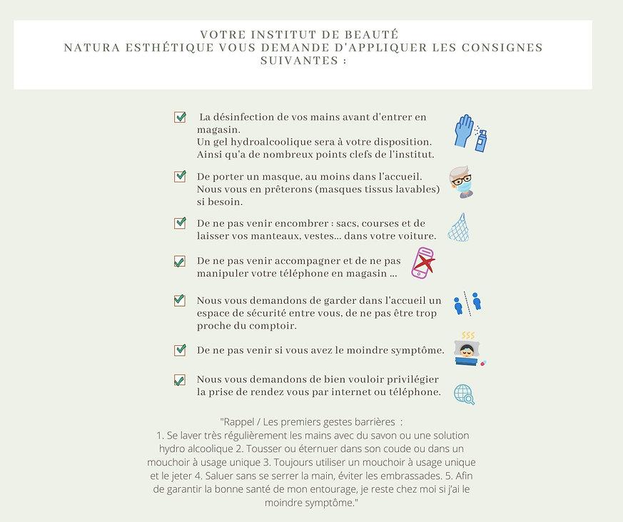 Consignes sanitaires de l'institut de beauté Natura Esthétique à Plaisance du Gers