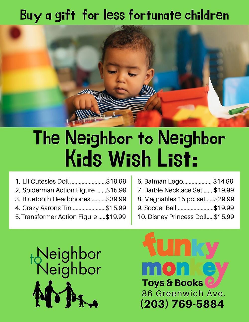 Neighbor to Neighbor Kids Wish List for Christmas 2019