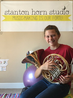 Lillian and her new horn!