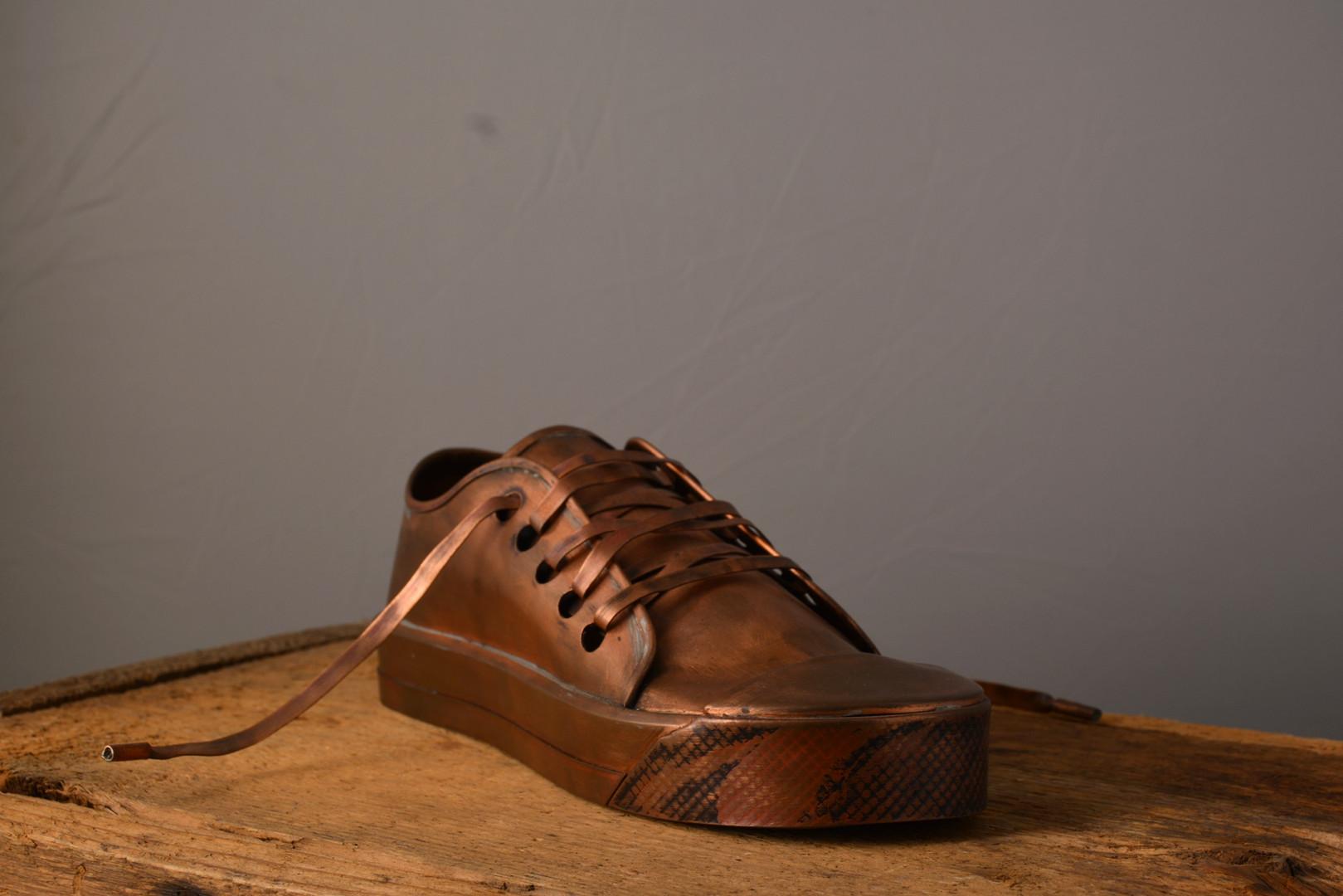 """""""Tennis Shoe""""  11 w x 10 d x 4 h   Copper  Brandon Zimmerman"""