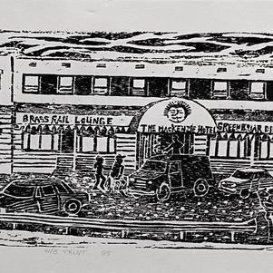 "Mackenzie Hotel 24"" x 7"" Wood Block Relief 5/5 $600"