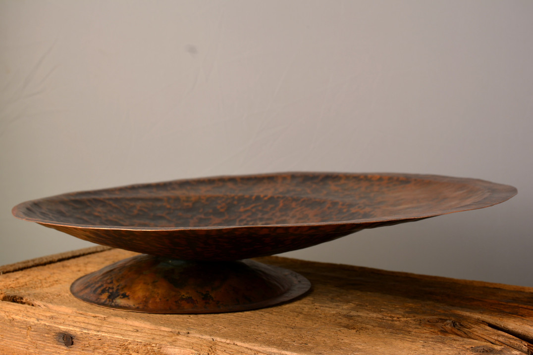 """Fruit Bowl""  16 w x 16 d x 3.5 h   Copper  Brandon Zimmerman"
