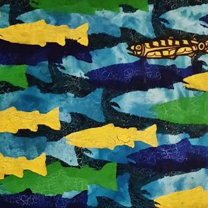 "Small Tributary 1 (Collaboration with Manda Hugon) 16"" x 12"" Acrylic on Canvas $350"