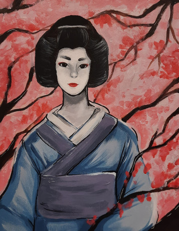 """Lindsey Pierce 'Geisha in the Cherry Blossoms' 11"""" x14"""" acrylic on canvas"""