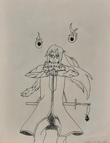 "Wyatt Morton 'Rimuru's Slife' 8"" x 10"" pen on paper"