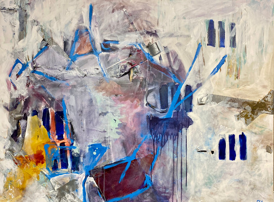 """""""ALL GOOD THINGS COME IN THREES""""  48"""" x 36"""" Acrylic on Canvas  Emily Klaassen"""