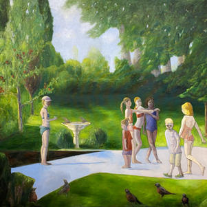 """Girls of Summer 48"""" x 40"""" Oil on Canvas  $1200"""