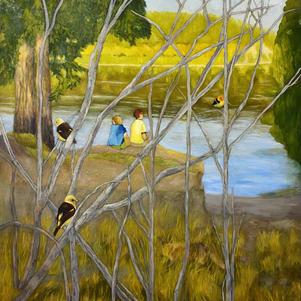 """River Boys 36"""" x 40"""" Oil on Canvas $900"""