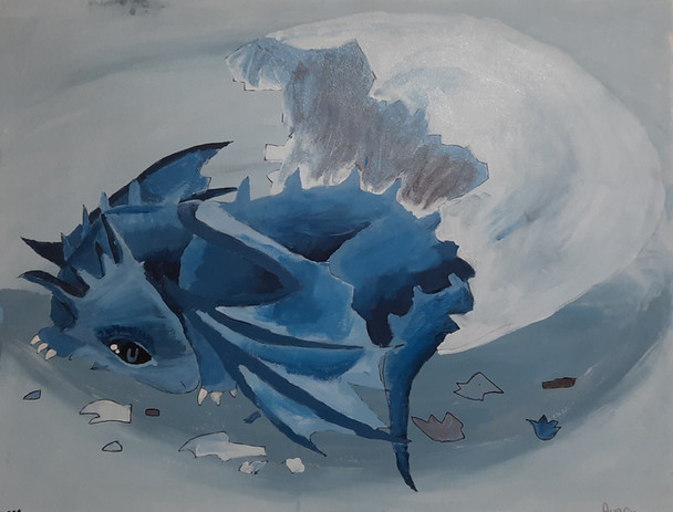 Avery Sosnowski 'Hatchling' acrylic on canvas