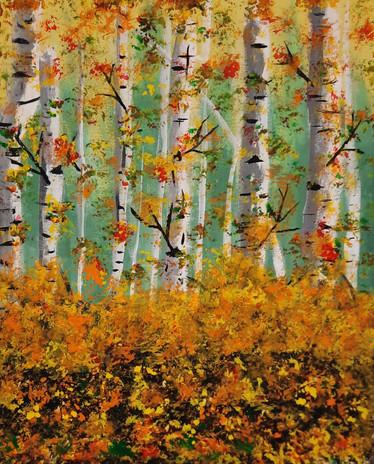 "Emma Widen 'Fall Forest' 20"" x 16"" acrylic on canvas"