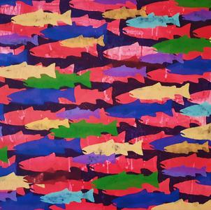 """Historical Abundance  70"""" x 48"""" Acrylic on Canvas $2000"""