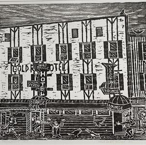 """Gold Range Hotel 20"""" x 12"""" Wood Block Relief 1/2 $600"""