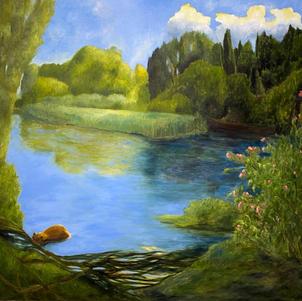"Beaver and Canoeist 48"" x 44"" Oil on Canvas $1200"