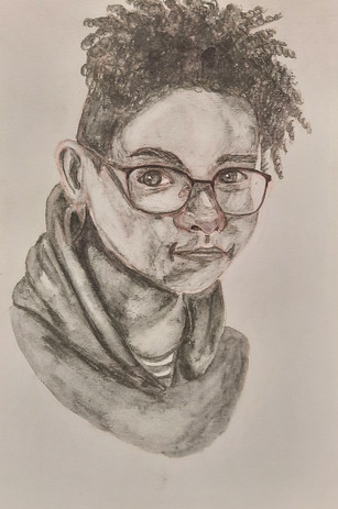 "Juel Gould 'Berlin's Portrait' 5.5"" x 8"" watercolour, pencil crayons"