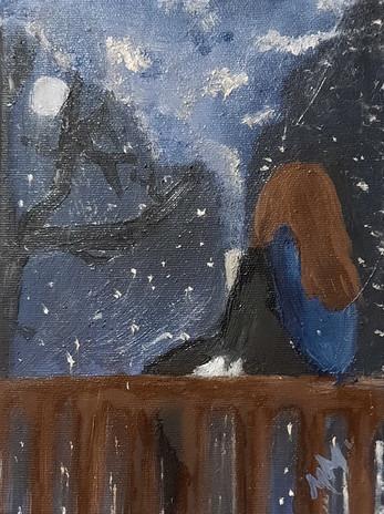 """Mackenzie Murray 'Girl on Fence' 6"""" x 8"""" oil on canvas"""