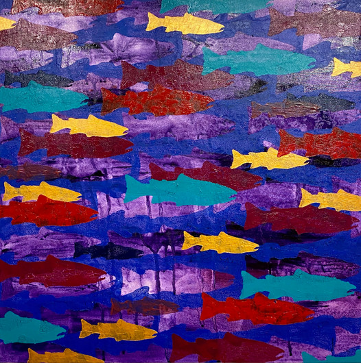 """""""Violet Tide""""  40"""" x 40"""" Acylic on Canvas  Perry Rath"""