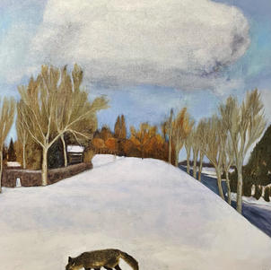"""Fox and Cloud  36"""" x 40"""" Oil on Canvas $900"""
