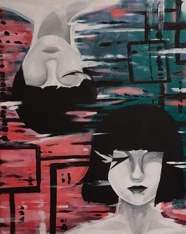 "Lindsey Pierce 'Binary' 16"" x 20"" acrylic on canvas"