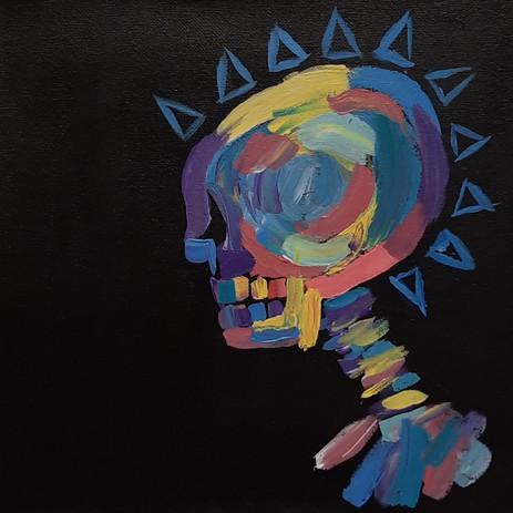 "Laurel Witt 'King of Bones' 8"" x 8"" acrylic on canvas"