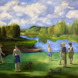 """Boys of Summer 48"""" x 40"""" Oil on Canvas $1200"""