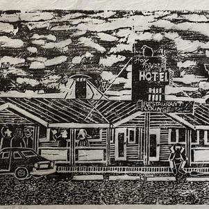 """Hay River Hotel 29"""" x 8"""" Wood Block Relief 2/2 $625"""