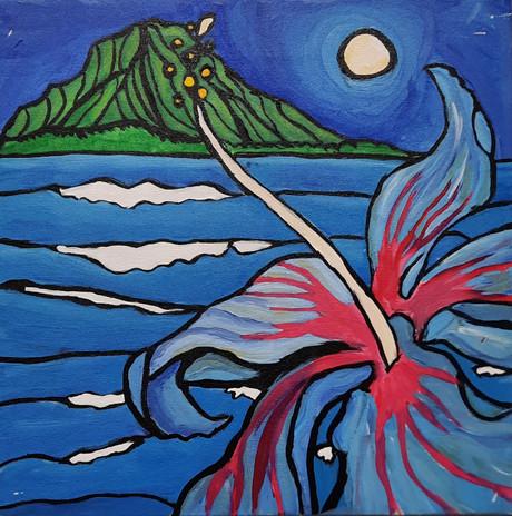 """Kendra Holyk 'Hawaiian Paradise' 12"""" x 12"""" acrylic on canvas"""