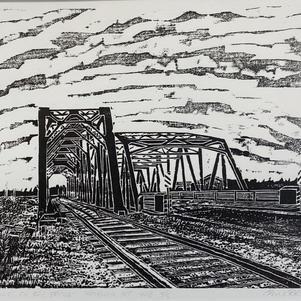 """West Channel Bridge 10"""" x 7"""" Wood Block Relief 3/5 $350"""