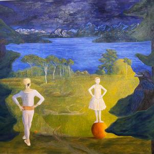"Night, Chilko Lake 60"" x 48"" Oil on Canvas $1200"