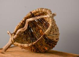 Bulrush/Willow and Bark Driftwood Handle Basket  Anneh Kessels