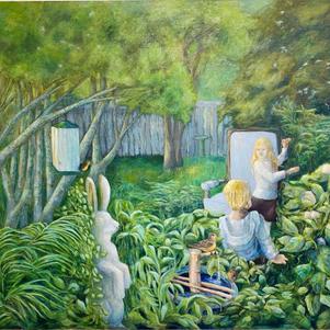 """Children in the Garden 48"""" x 44"""" Oil on Canvas $1200"""