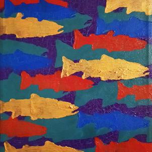 "Little Migration 3 9"" x 9"" Acrylic on Canvas $200"