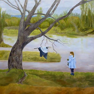 """Girl and Heron 40"""" x 36"""" Oil on Canvas $900"""