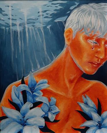 "Tiffani Grelson 'Requiem' 16"" x 18"" acrylic on canvas"