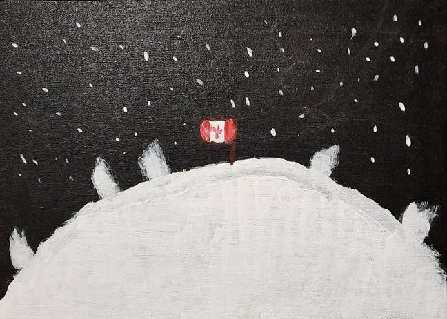 """Tiya Sahay 'Over the Moon' 13.5"""" x 18.5"""" acrylic on canvas"""