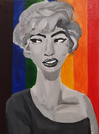 """Naveah Michell 'That Grey Girl' 12"""" x 16"""" acrylic on canvas"""