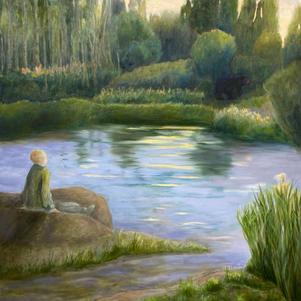 """Boy and Bear 36"""" x 40"""" Oil on Canvas $900"""