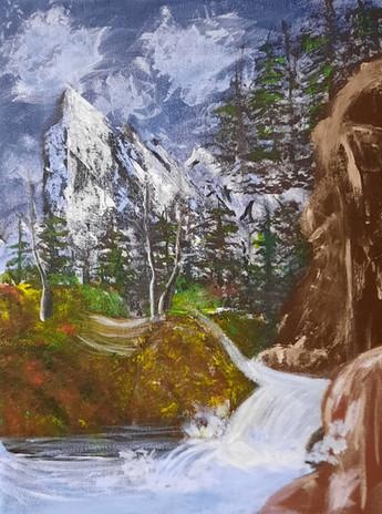 "Raven Besharah 'Mountain Landscape' 11"" x 15"" acrylic on canvas"
