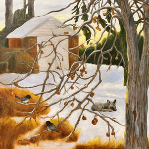 "Sleeping Fox  32"" x 30"" Oil on Canvas $750"