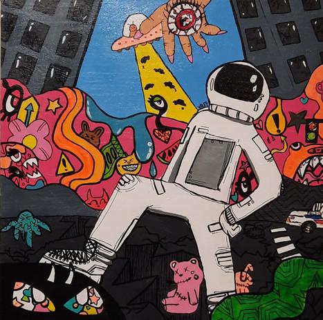 """Evelyn Stevenson 'Escape from New York' 23"""" x 23"""" acrylic on canvas"""