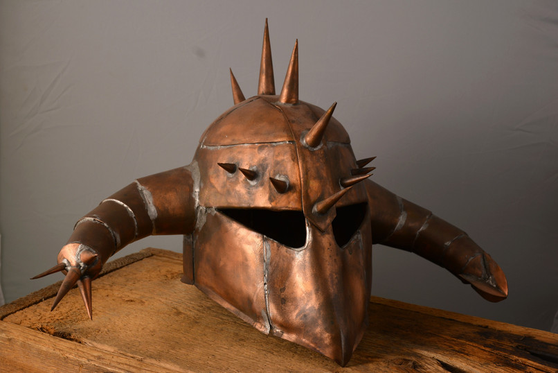 """War Helmet""  19 w x 15 d x 12 h   Copper  Brandon Zimmerman"