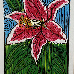 """Star Lily 5"""" x 8"""" Wood Block Relief 4/6 $350"""